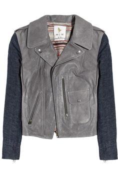MiH Jeans|Denim-sleeved leather biker jacket|NET-A-PORTER.COM