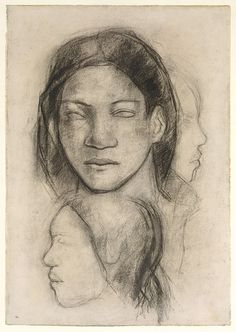 """Tahitian Faces"" ca. 1899 Paul Gauguin  I love the simplicity of his drawing.  I still feel that carries a great depth of beauty and emotion, and perhaps this subjective experience is strengthened by the departure from realism.  Move from objective to interior, subjective realm."