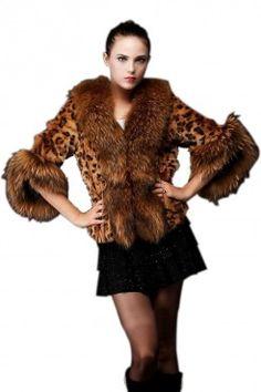 LUCLUC Animal Print Raccoon Fur Faux Leopard Coat