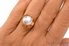 eBay❤️ Fine Jewelry Estate-Pearl-18K-Yellow-Gold-Ring-8-8-Grams-NR, pearl ring, gold Greek key pearl ring, vintage fine jewelry, want, jewelry, watch eBay, shop retail, eBay auction watch