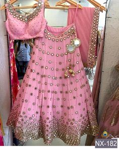 The Stylish And Elegant Lehenga Choli In Pink Colour Looks Stunning And Gorgeous With Trendy And Fashionable Embroidery . The Dhupion Silk Fabric Party Wear Lehenga Choli Looks Extremely Attractive An. Lehenga Choli Designs, Ghagra Choli, Bridal Lehenga Choli, Kids Lehenga Choli, Pakistani Bridal, Indian Bridal, Indian Dresses, Indian Outfits, Mirror Work Lehenga