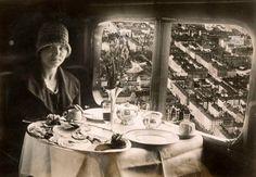 anyskin:    Dinner aboard a German Berlin-Paris airplane, 1928
