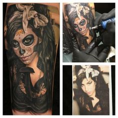 Amy Winehouse Sugar Skull Tattoo. I would never do this, but what a work of art!