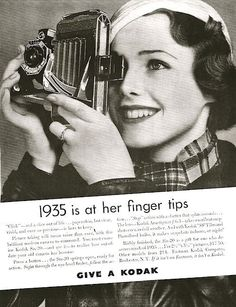 Kodak: 1935 is at her fingertips. 1936 is when Kodak released the first ever colour film. Antique Cameras, Old Cameras, Vintage Cameras, Vintage Ads, Vintage Images, Vintage Posters, History Of Photography, Photography Camera, Vintage Photography