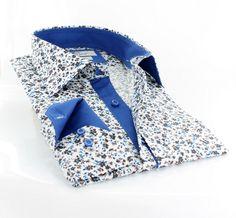 Claudio Lugli men's shirt w. white and blue flower print http://claudioluglishirts.com/