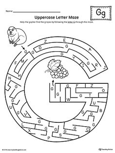 Uppercase Letter G Maze Worksheet Worksheet.If you are looking for creative ways to help your preschooler or kindergartener to practice identifying the letters of the alphabet, the Uppercase Letter Maze is the perfect activity. Letter G Activities, Letter G Worksheets, Maze Worksheet, English Worksheets For Kids, English Lessons For Kids, 1st Grade Worksheets, School Worksheets, Letter Maze, Letter Sorting