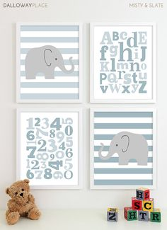 Alphabet Baby Boy Nursery Art Chevron Elephant Nursery Prints by DallowayPlaceKids