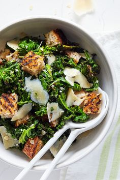 Healthier Caesar Salad - Grilled Kale Salad with Croutons and Parmesan Cheese