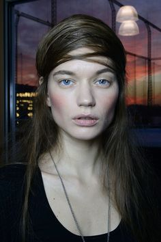 A Détacher Fall 2014  - Romantic flushed cheeks, bold brows, sheer nude lip.