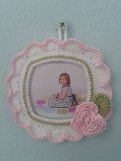 Items similar to Special Edition - Little girls crochet picture frame. on Etsy Picture Frame Ornaments, Picture Frames, Crochet Shell Blanket, Easy Crochet Projects, Cute Little Things, Red Heart Yarn, Crochet Gifts, Crochet Flowers, Shabby