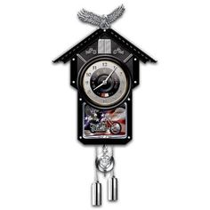 Amazon.com: Motorcycle-Themed Collectible Wooden Cuckoo Clock: Time Of Freedom by The Bradford Exchange: Home & Kitchen