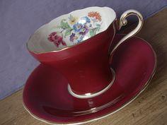 red tea cup and saucer, vintage aynsley china set, Bridal Shower Tea, China Sets, Cooking Utensils, Vintage China, Bone China, Cup And Saucer, Blue Yellow, Tea Time, Tea Pots