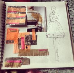 Sketchbook layout. Untraditional material sample and illustrations. By Sarah Davies.