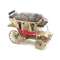 Deluxe Old West Stagecoach is at www.replica-blankguns.com. This detailed coach is constructed of metal, leather and plastic parts. Features include rotating wheels, doors that open, spring riding carriage, two bench seats inside and outside and luggage racks with tie down straps. This old west stagecoach is a deluxe model.