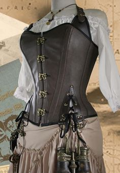 "30"" WAIST Steampunk Pirate Corset Brass Dark Tan Veggie Leather BRVAMPSC14"