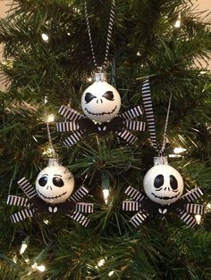 these glass ornaments are 2 inches by 2 inches this set includes 3 jack skellington ornaments with collar and ribbon bow they are hand painted with