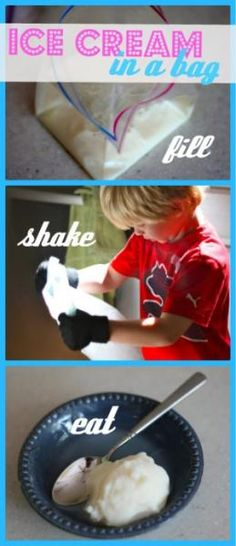 Ice Cream in a Bag Experiment – I Can Teach My Child! Super fun summer craft ideas–great for kids 🙂 (tie dying, water activities, sidewalk chalk fun, and lots more! Babysitting Activities, Babysitting Fun, Summer Activities, Water Activities, Water Games, Indoor Activities, Holiday Activities, Family Activities, Toddler Activities