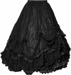 Long black gothic skirt by Sinister, elastic waist seam, ruffled layers of fabric.