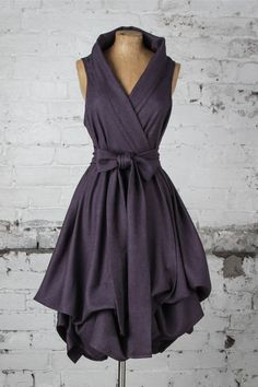 Blonde & Wise Dark Purple Herringbone Trench Dress. The perfect bridesmaid dress, prom dress or dress for the races! Simply stunning and handmade in the UK!
