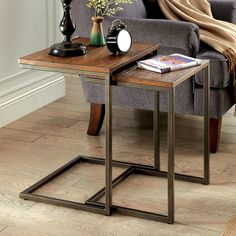 Furniture of America Dornell Industrial Style Nesting Table (Medium Weathered Oak), Brown Classic Furniture, Unique Furniture, Rustic Furniture, Furniture Dolly, Vintage Industrial Furniture, Industrial Style, Sofa End Tables, Side Tables, Steel Furniture