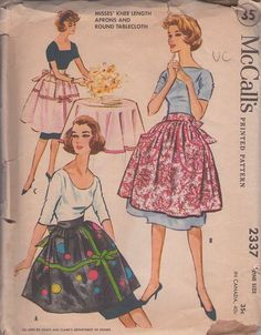 McCall's 2337 Vintage 50's Sewing Pattern CLASSIC Good Housewife Lucy Full Skirted Knee Length Half Apron, You're A Christmas Present Trim & Round Tablecloth    1959, 50s Loungewear, Retro Kitchen Cook Clothing Patterns - BEAUTY of an apron in three styles has wide waistband that ties to the back, shaped cargo pockets or 'present wrapping' trim with ribbon bands! Also includes band trimmed round table cloth so you can match where you serve! :D