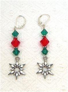 Red and Green Moravian Star Earrings on Sterling Leverbacks | artistsatheart - Jewelry on ArtFire
