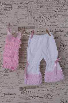 Vintage Ruffle Bloomers With Pink Pettiromper Top With Straps.