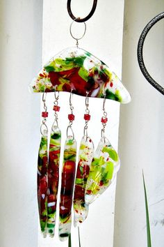 Fused Glass Wind Chimes by Chris1 on Etsy, $65.00