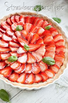Very refreshing strawberry basil pie that looks beautiful and the taste is absolutely amazing! Ready in about 1 hour.