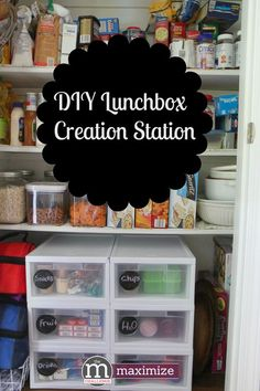 DIY Lunchbox Creation Station from MomAdvice. Pantries make the perfect spot for organizing healthy snacks and lunch ideas for kids. This is a great idea for back-to-school with a picture tutorial to help you fill those drawers.