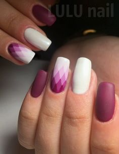 I admire with this geometric nail art patterns combination!