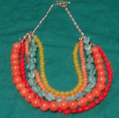 Imitation gemstone necklace with silver chain and clasp - A$25.00