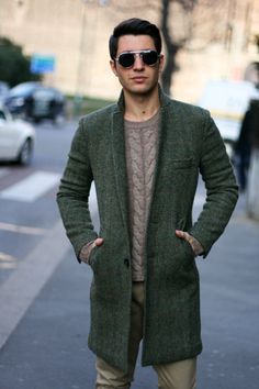Green Tweed Overcoat