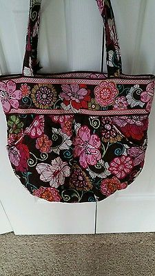 AUTHENTIC VERA BRADLEY PINK AND BROWN  MOD FLORAL PLEATED BAG PURSE TOTE