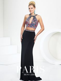 Style 116710, is a beautiful lace halter top prom dress by Paris by Mon Cheri, click here for more details.