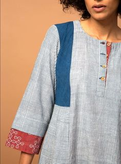 Superb detailing with prints and trims. Superb detailing with prints and trims. Kurti Patterns, Dress Patterns, Diy Clothing, Sewing Clothes, Kurta Designs, Blouse Designs, Mode Hijab, Indian Designer Wear, Indian Wear