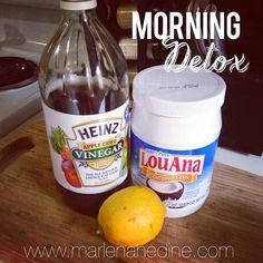 morning detox drink, warm lemon water benefits, cleanse, morning cleanse, detox, apple cider vinegar, coconut oil