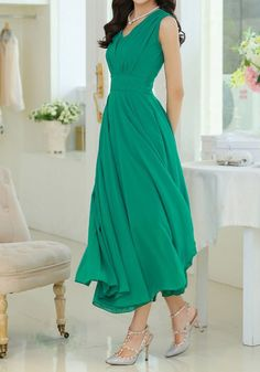 V-Neck Sleeveless Beam Waist Solid Color Elegant Chiffon Long Dress For Women