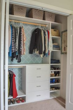 53 Elegant Closet Design Ideas For Your Home. Unique closet design ideas will definitely help you utilize your closet space appropriately. An ideal closet design is probably the only avenue towards go. Reach In Closet, Build A Closet, Kid Closet, Closet Bedroom, Bedroom Kids, Closet Ideas Kids, Closet Ideas For Small Spaces, Maximize Closet Space, Cheap Closet
