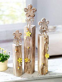 3 x Deko-Säule Blume Holzblume Holzsäule  Shabby Chic Landhaus Frühlingsdeko