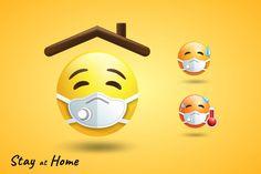 Emoji Stay at home, by shopPlayWood on Emoji Mask, Photo Fixer, Funny Emoji Faces, Emoji Symbols, Emoji Images, Heart Emoji, Youtube Channel Art, Stay At Home, Flat Illustration