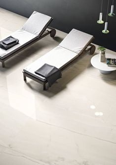 Onyx Sense is a stunning new marble-effect porcelain tile from our Italian Collection of porcelain tiles. Available in 8 colours, view and order samples here. Marble Effect, Porcelain Tile, Outdoor Furniture, Outdoor Decor, Sun Lounger, Tiles, Colours, Spa, Home Decor