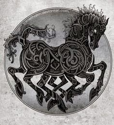 In Norse mythology, Sleipnir is an eight-legged horse of Norse God Odin Vikings. Sleipnir is Odin's steed, is the child of Loki and Svaðilfari, is described as the best of all horses, and is sometimes ridden to the location of Hel. Jormungand Tattoo, Symbole Viking, Norse Tattoo, Loki Tattoo, Tattoo Ink, Arm Tattoo, Celtic Horse Tattoo, Sleeve Tattoos, 3d Tattoos