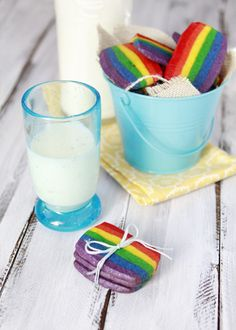 rainbow slice and bake cookies. rainbow cookies for st Patricks dayt.