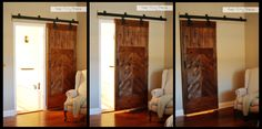 Interior custom built sliding barn door. Made with hardware from Tractor Supply & painted black and salvaged flooring.  Nice.