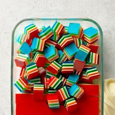 Rainbow Gelatin Cubes