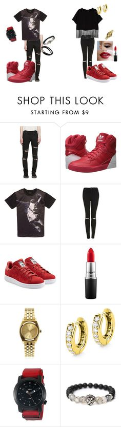 """""""Astro Rocky Inspired Couple Outfit"""" by ravstylin on Polyvore featuring Yves Saint Laurent, adidas Originals, Topshop, MAC Cosmetics, Nixon and Neff"""