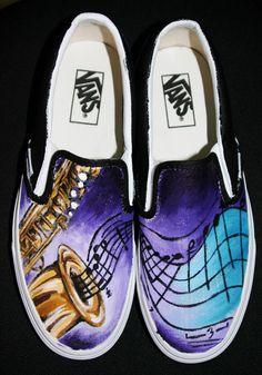 Music for your feet!! It's gotta be da shoes!    Saxophone Vans by SwissDutchess.deviantart.com