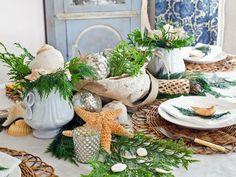 Garten Tischdeko im Beach Stil mit Seesternen und Muscheln