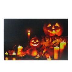 "LED Lighted Halloween Jack-O-Lanterns Fall Harvest Canvas Wall Art 15.75"""" x 23.5"""""